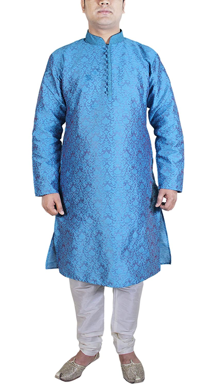 Mens Clothing Sets Kurta Pajama Punjabi Ethnic Indian Turquoise