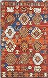 Ecarpetgallery Hand-woven Antalya M17019 Geometric 4' x 6' Red 100% Wool area rug