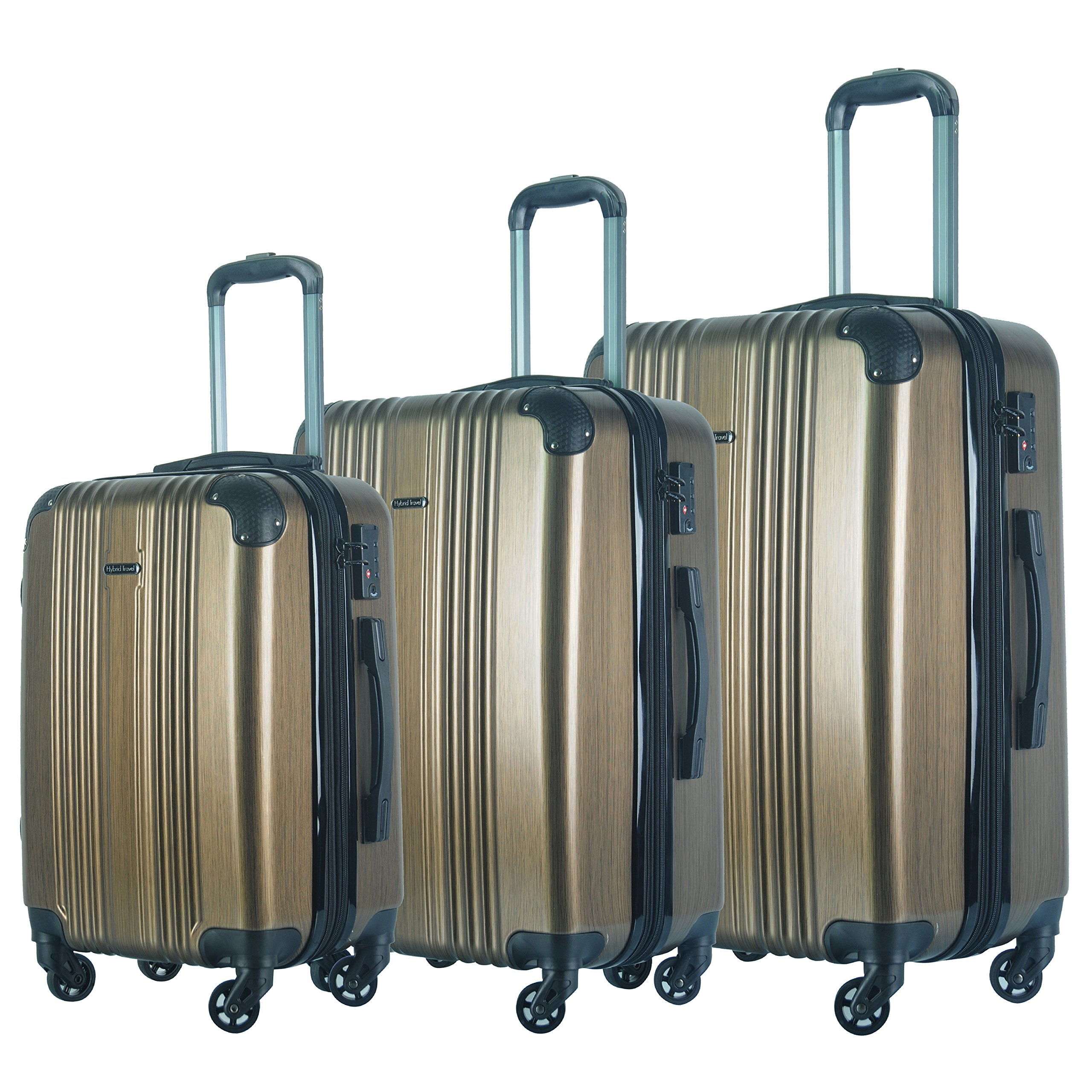 3 PC Luggage Set Durable Lightweight Spinner Suitecase LUG3 6111 GOLD