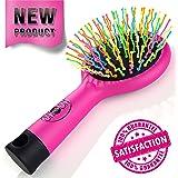shosh spazzola con specchio anti statiche antigroviglio presa gommata rosa