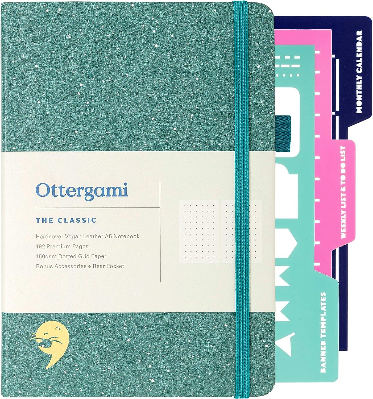 Bullet Cuaderno A5 Journal | 150gsm Papel Libreta A5 | Libretas Bonitas Puntos con Plantillas Extra | The Classic por Ottergami (Verde Moteado)