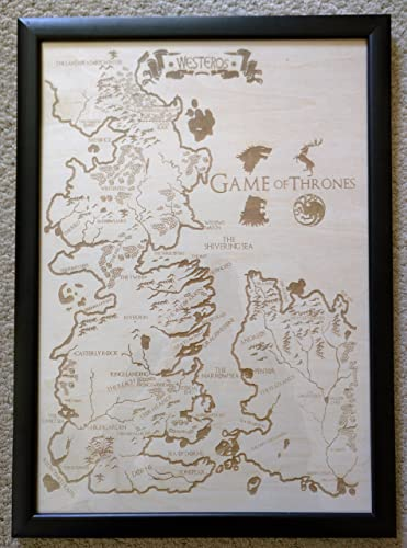 Wooden Westeros Map - Engraved into the Wood, Game of Thrones map ...
