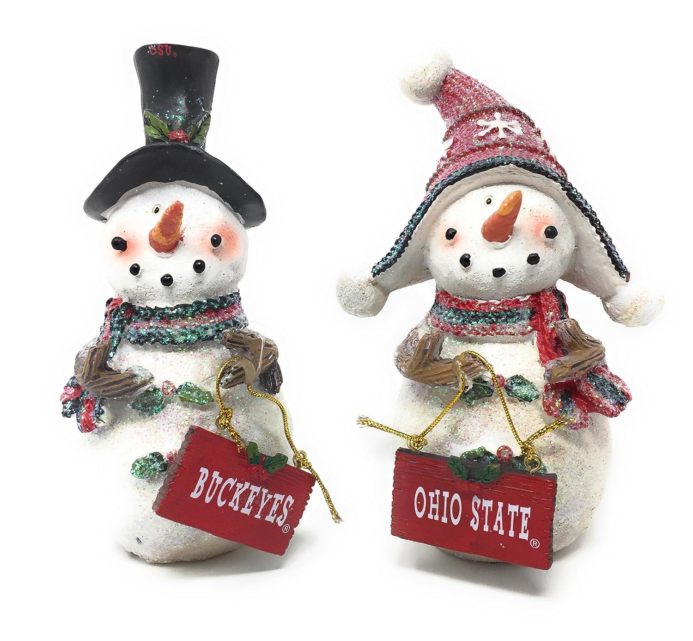 Amazon.com: Set 2 Licensed The Ohio State Buckeyes Snowman Standing ...