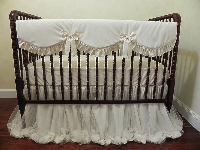 Nursery Bedding, Baby Girl Crib Bedding Set Giselle   Ivory Baby Bedding,  Bumperless Crib