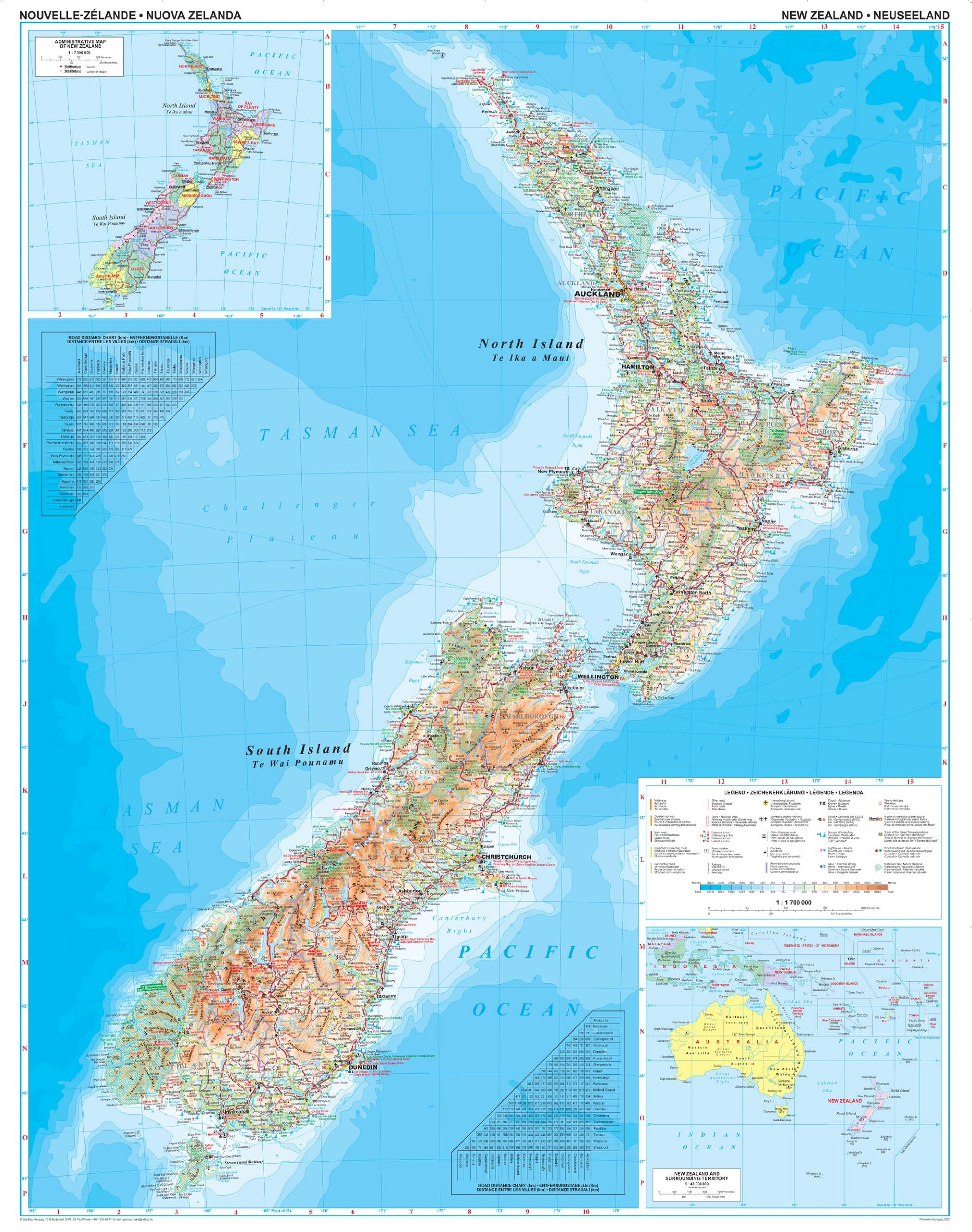 Cartina Geografica Della Nuova Zelanda.Amazon It Nuova Zelanda 1 1 700 000 Geografica Mappa Gizi