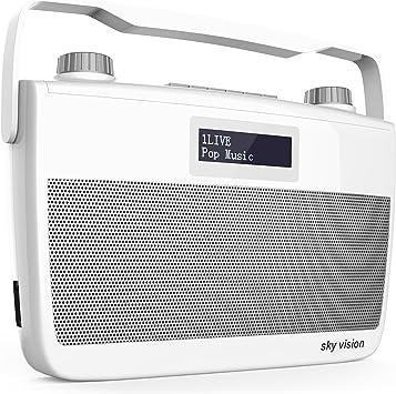 Sky Vision Dab 8 W Dab Digital Radio Fm Ukw Empfang Tragbar Für Unterwegs Batterie Betrieb Möglich Plus Kopfhörer Anschluss Weiß Heimkino Tv Video