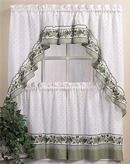 CHF You Cottage Ivy Country Curtain Tier And Swag Set Multi 56