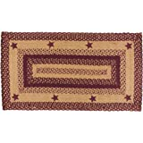 """IHF HOME DECOR New Country Style Area Floor Carpet Rectangle Braided Rug 20"""" X 30"""" STAR WINE DESIGN Jute Fabric"""