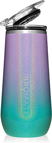 BrüMate 12oz Insulated Champagne Flute With Flip-Top Lid - Made With Vacuum Insulated Stainless Steel (Glitter Mermaid)