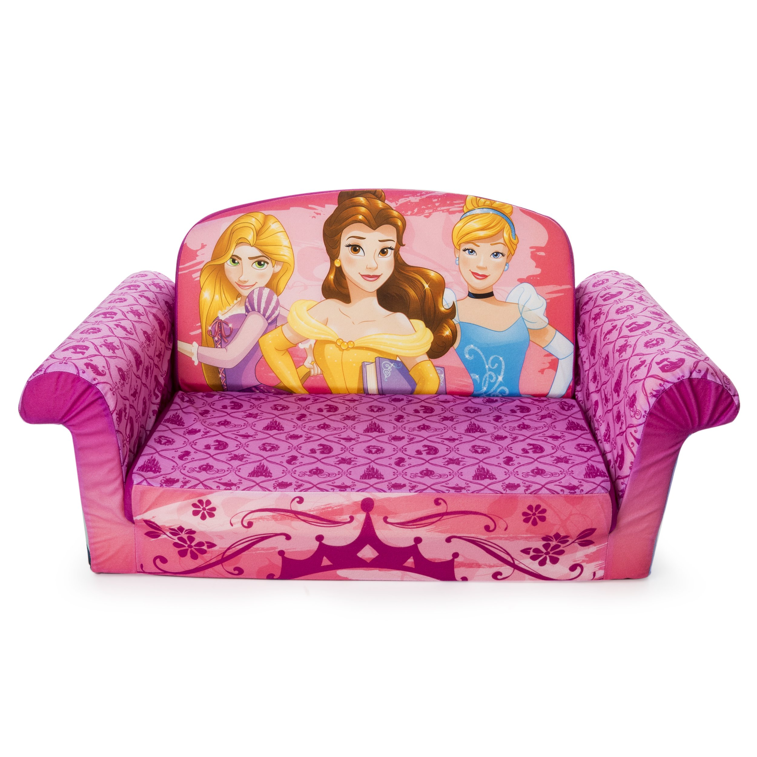 Marshmallow Furniture - Children's 2 in 1 Flip Open Foam Sofa, Disney Princess Flip Open Sofa by Marshmallow Furniture