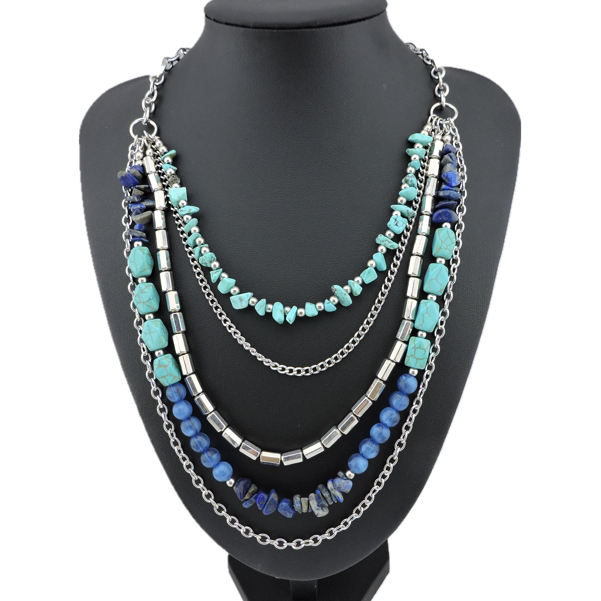 BOCAR Personalized Layered Strands Natural Turquoise Statement Chunky Necklace for Women Gifts (113)