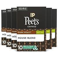 Peet's Coffee, Decaf House Blend - Dark Roast Decaffeinated Coffee - 60 K-Cup Pods for Keurig Brewers (6 Boxes of 10 K…
