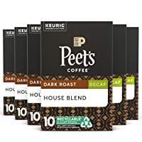Peet's Coffee Decaf House Blend, Dark Roast, 60 Count Single Serve K-Cup Decaffeinated...