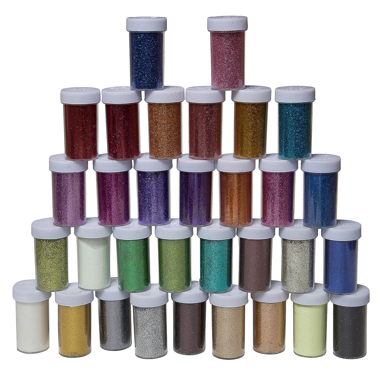 32 Pack Multi-Coloured Glitter Included 2 Glow-in-The-Dark Glitters Allkit