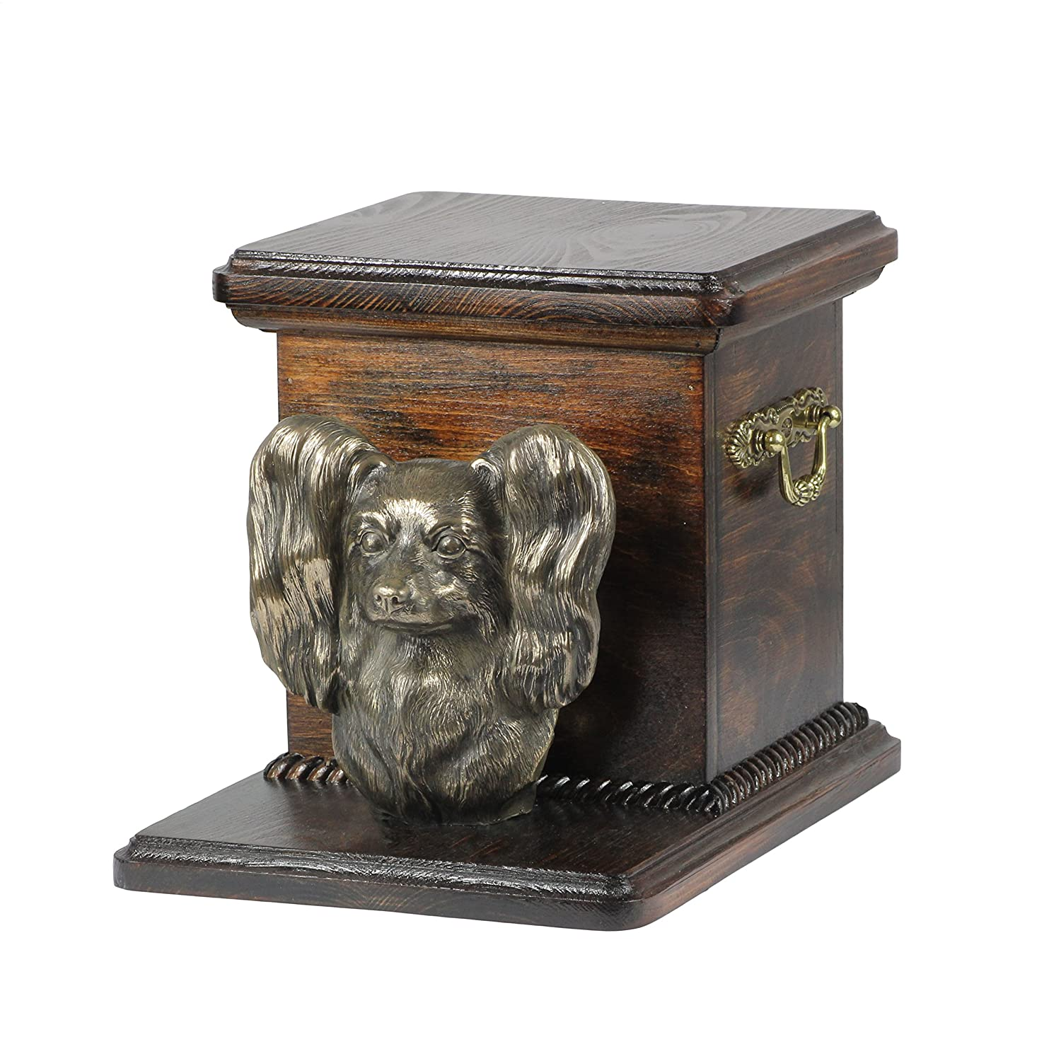Papillon, memorial, urn for dog's ashes, with dog statue, ArtDog