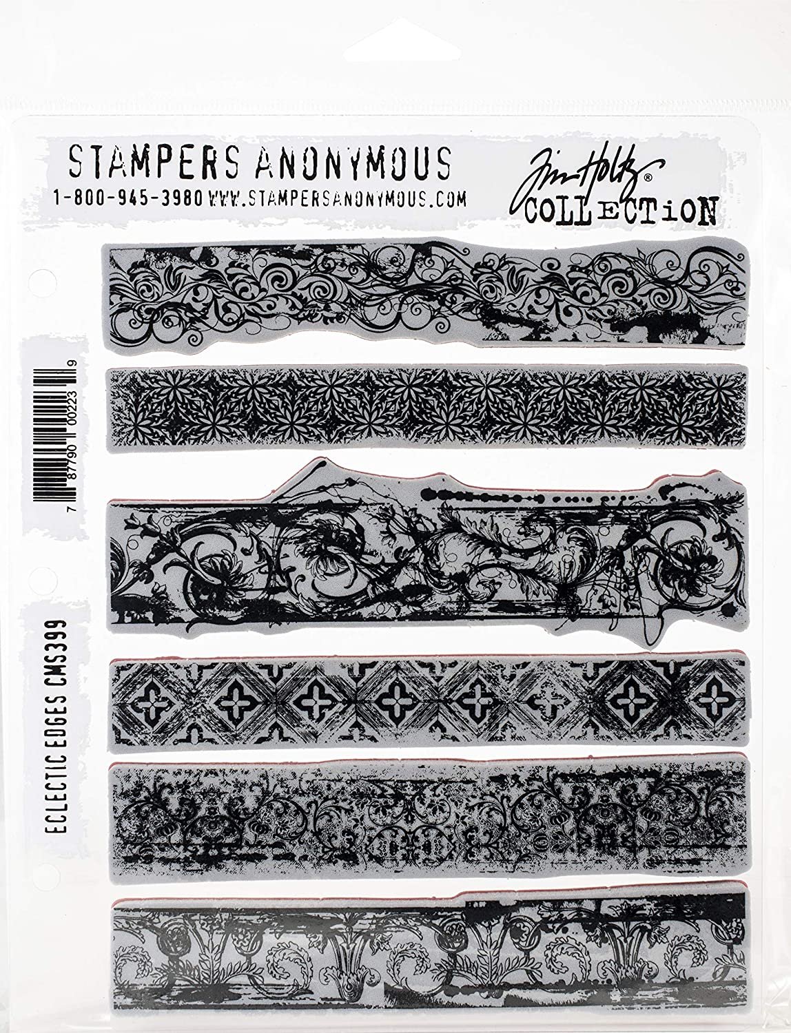 Tim Holtz - Stampers Anon Cling RBBR Stamp Set, Eclectic Edges