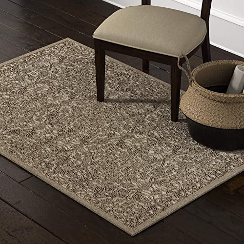 Amazon Brand Stone Beam Floral Wool Area Rug, 4 x 6 Foot, Taupe