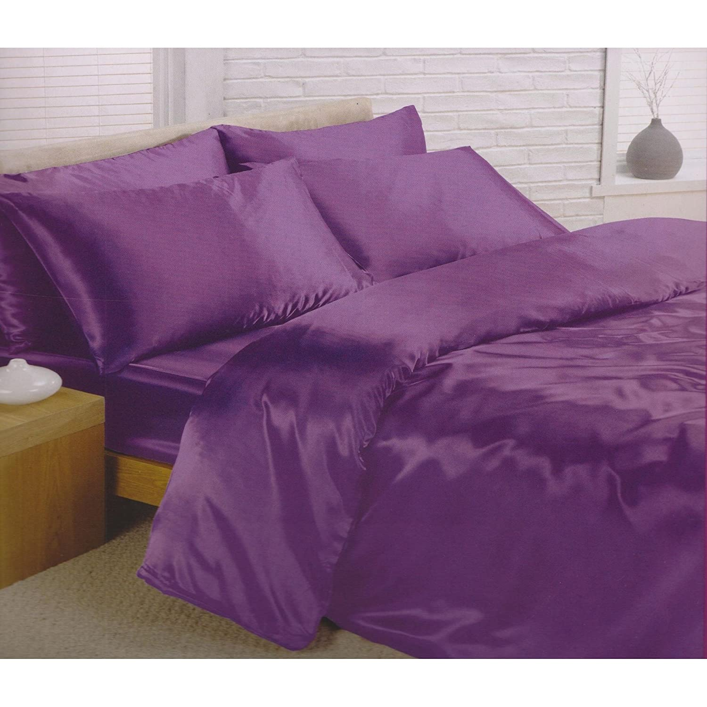 Charisma Satin Bedding Set (Duvet Cover, Fitted Sheet & Pillowcases) (Full Bed) (Black) Universal Textiles UTMS169_7