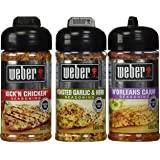Weber All Natural Seasoning Blend 3 Flavor Variety Bundle: N'Orleans Cajun,  Roasted Garlic Herb, and Kick'N Chicken, 5-5.5 Ounce