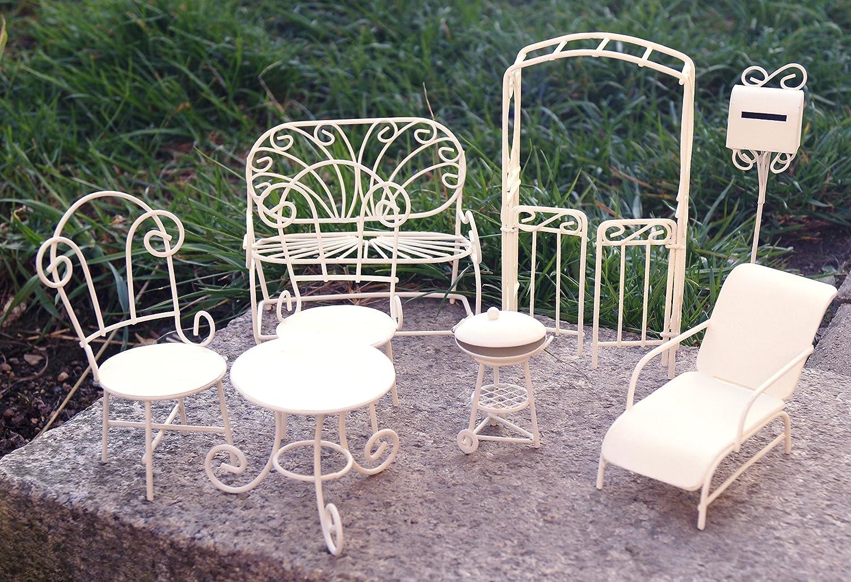 Metall Miniatur Gartenmöbel Set 8 tlg. weiß Mini Garten Dekoration ...