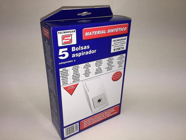 Tecnhogar 915674 Bolsa aspirador, Fibras sintéticas, Blanco: Amazon.es: Hogar