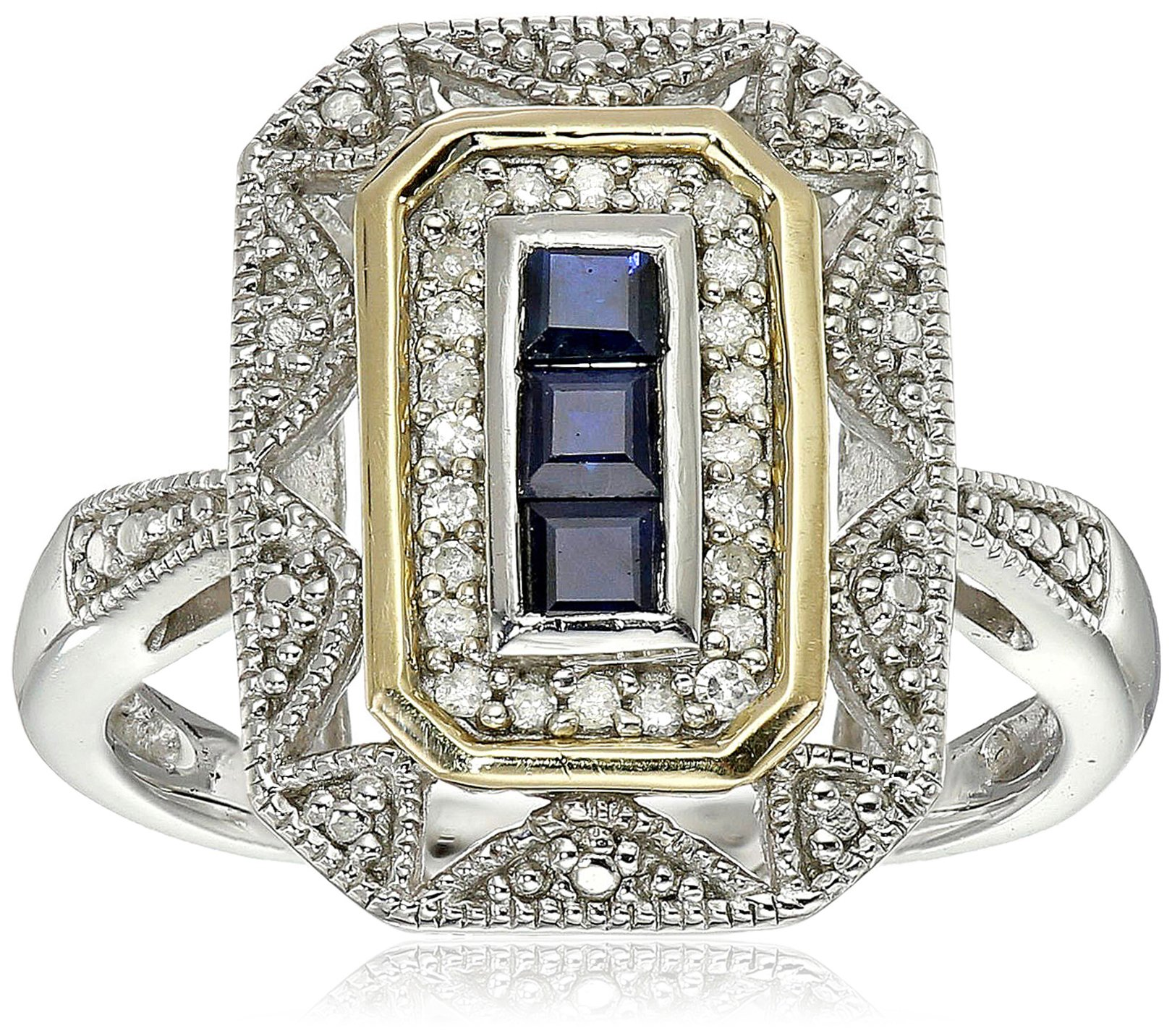 Sterling Silver and 14k Yellow Gold Blue Sapphire and Diamond-Accent Art Deco Style Ring (0.11 cttw, I-J Color, I3 Clarity), Size 7 by Amazon Collection
