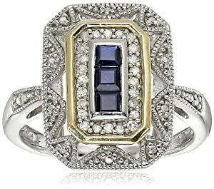 Sterling Silver and 14k Yellow Gold Blue Sapphire and Diamond Accent Art Deco-Style Ring