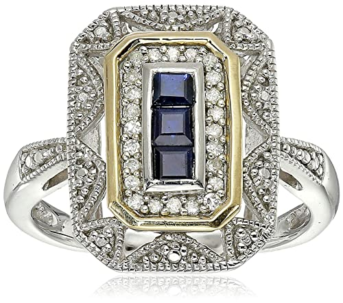Review Sterling Silver and 14k Yellow Gold Blue Sapphire and Diamond Accent Art Deco-Style Ring (1/10 cttw, I-J Color, I3 Clarity)