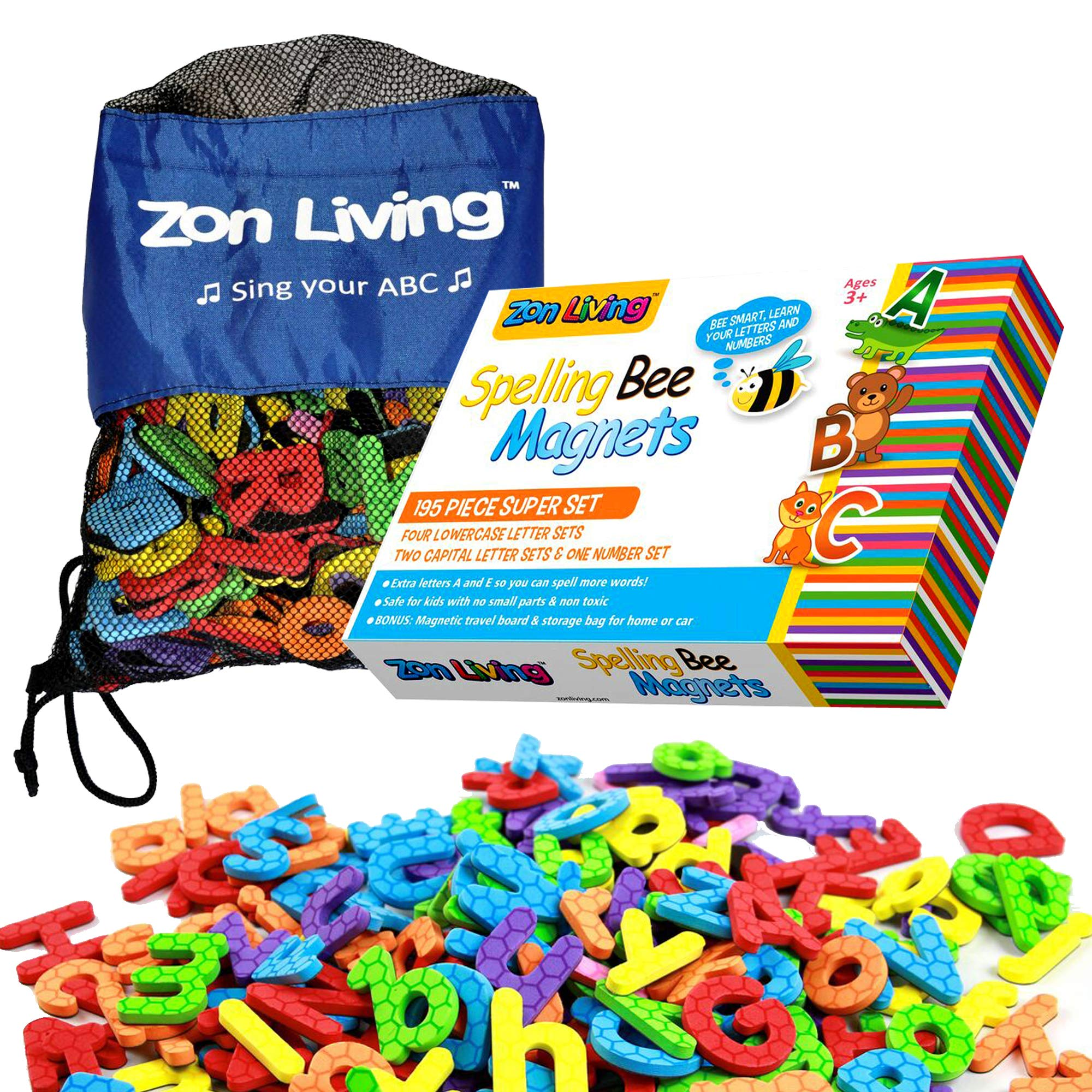 Zon Living 195 Piece Magnetic Alphabet Letters Numbers Lowercase Uppercase Refrigerator Magnets ABC 123 Toddlers Carry Bag Board Vowels Frig Fridge