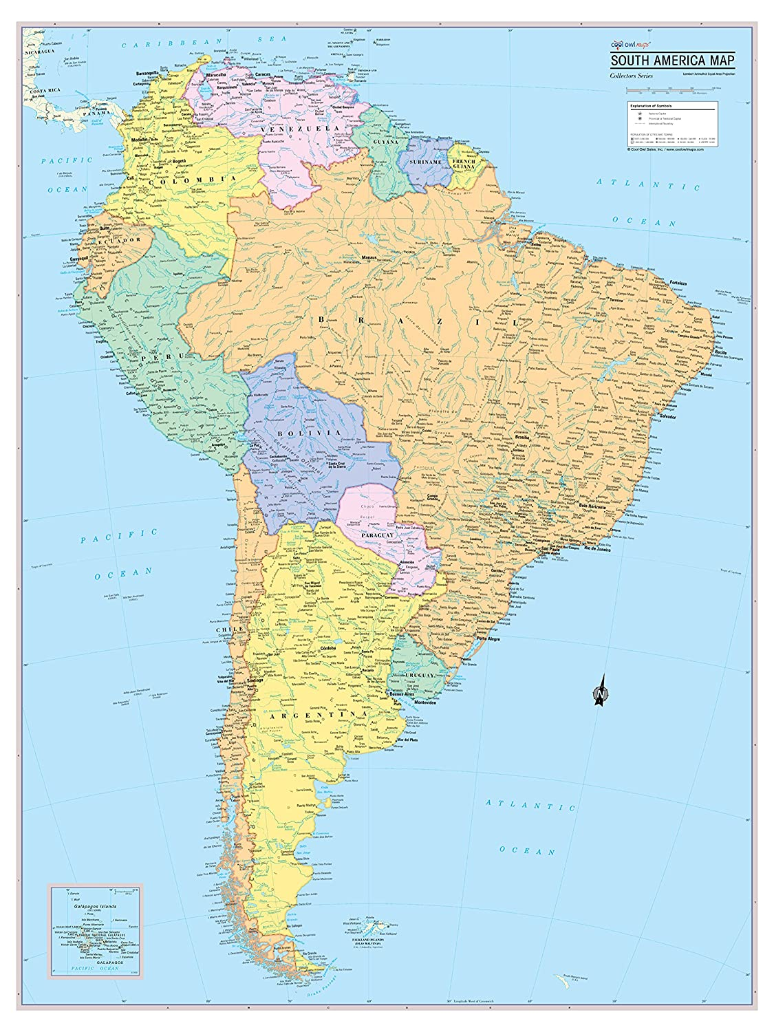 Amazon Com Cool Owl Maps South America Continent Wall Map Rolled