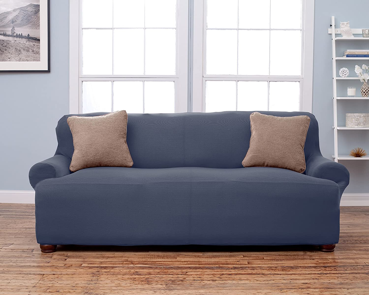 Lucia Collection Corduroy Strapless Slipcover. Form Fit, Slip Resistant, Stylish Furniture Shield / Protector Featuring Soft, Lightweight Fabric. By Home Fashion Designs. (Sofa, Grey)