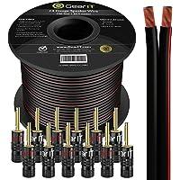 Cable de altavoz de calibre 14 (30,48 metros) con conectores banana (6 pares, 12 piezas) GearIT Pro Series 14 AWG, color…