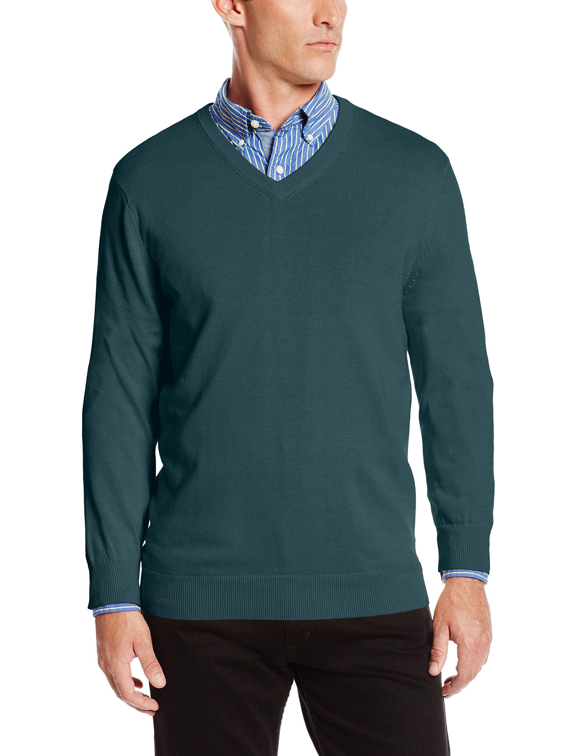 IZOD Men's Fine Gauge Solid V-Neck Sweater, June Bug, Small