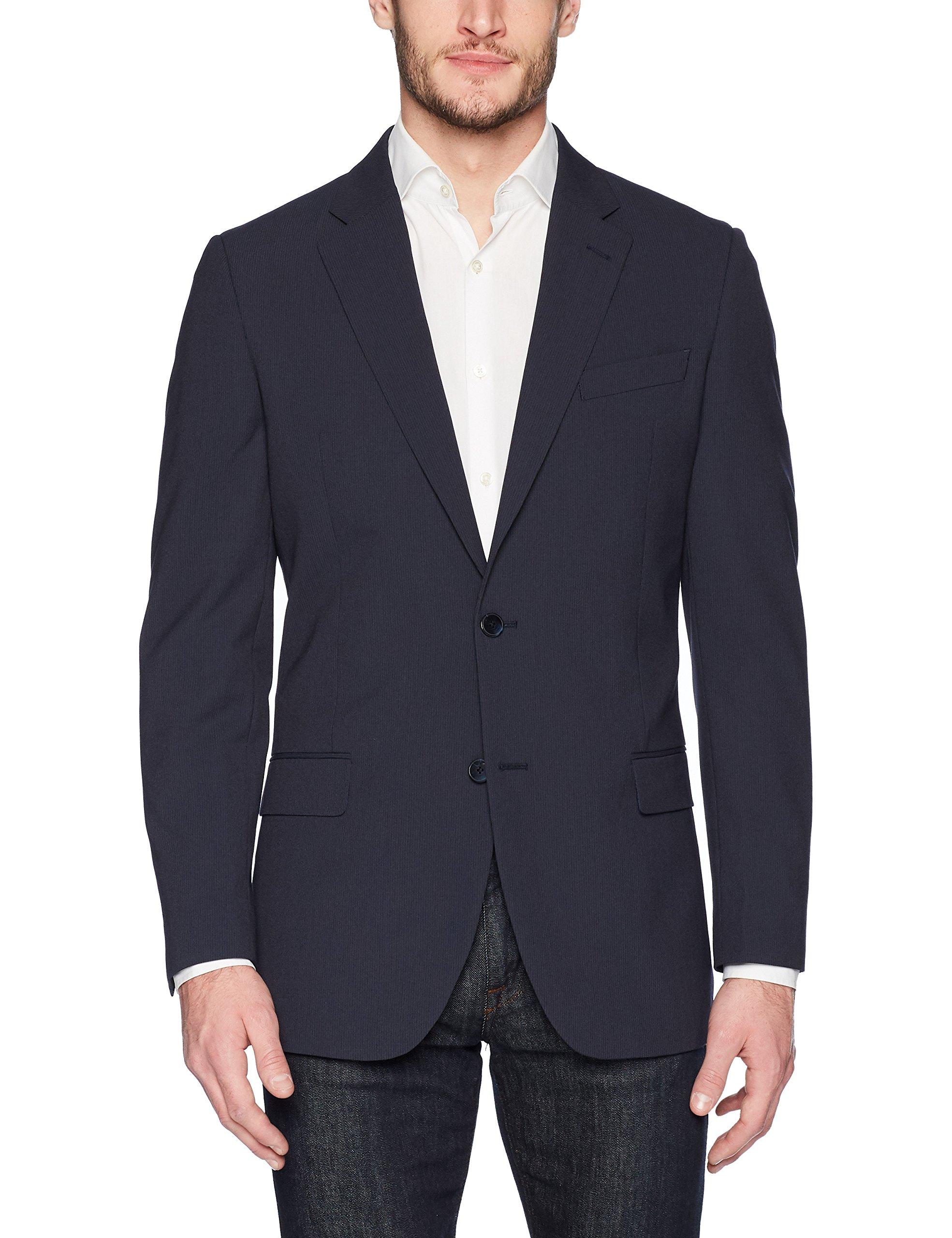 Nautica Men's Bi-Stretch Slim Fit Suit Separate (Blazer and Pant), Navy Stripe Blazer, 44 Regular