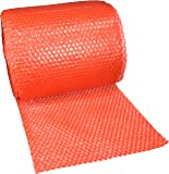 """UBOXES Small Bubble Cushioning Wrap 60' 3/16"""", Bubble Roll 12"""" Wide, Perforated Every 12"""", Red (BUBBSMA12RED)"""