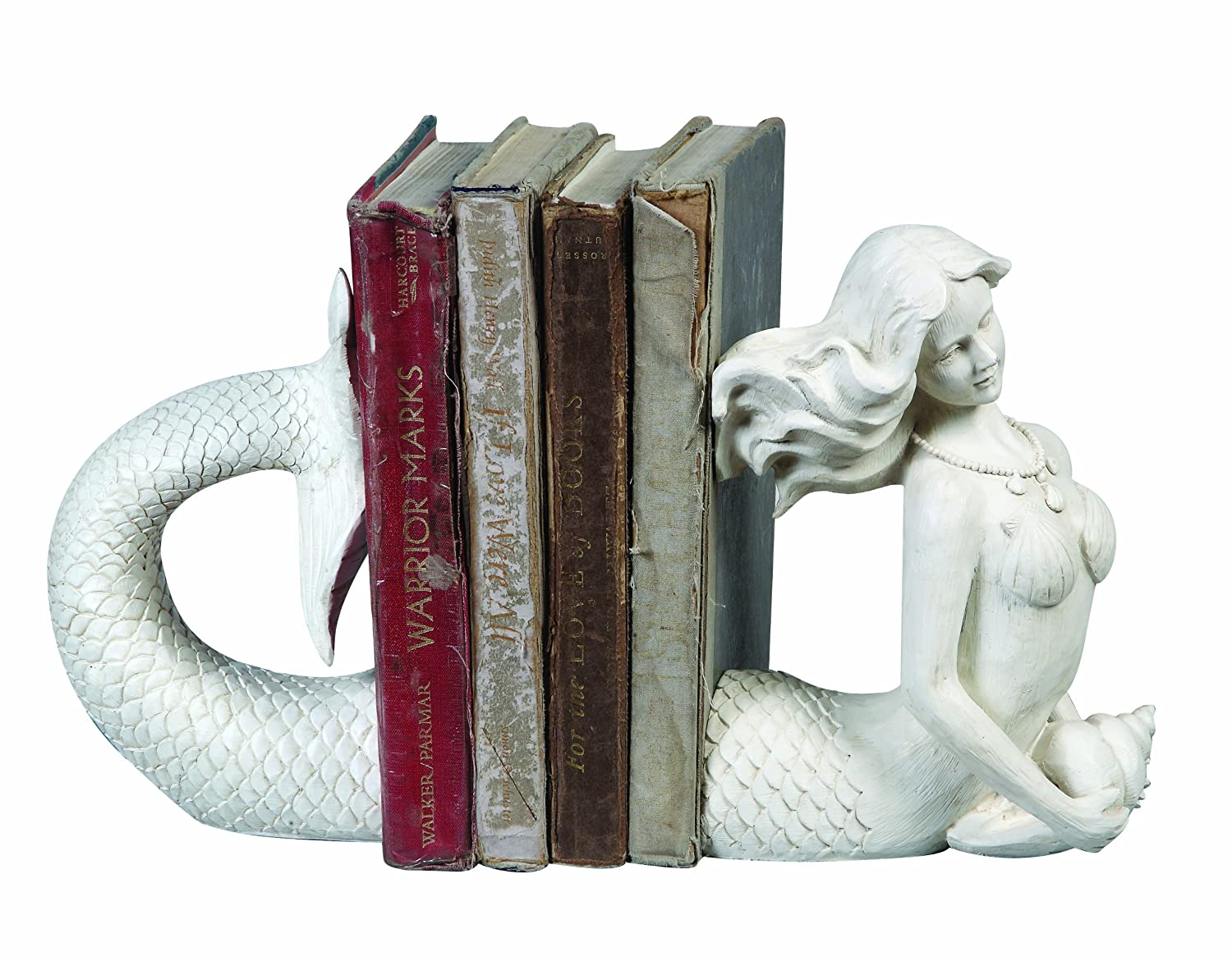 Creative Co-Op Cream Resin Mermaid Bookends DE2163