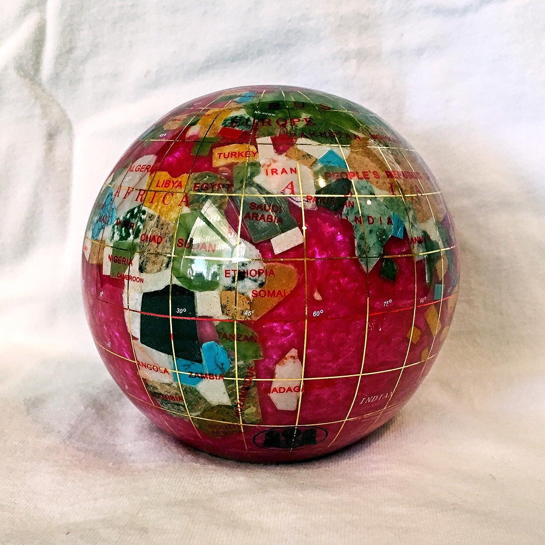 Pink Pearl Swirl 110 mm Diameter Gemstone Globe Paperweight Paper weight Unique Art 4.3