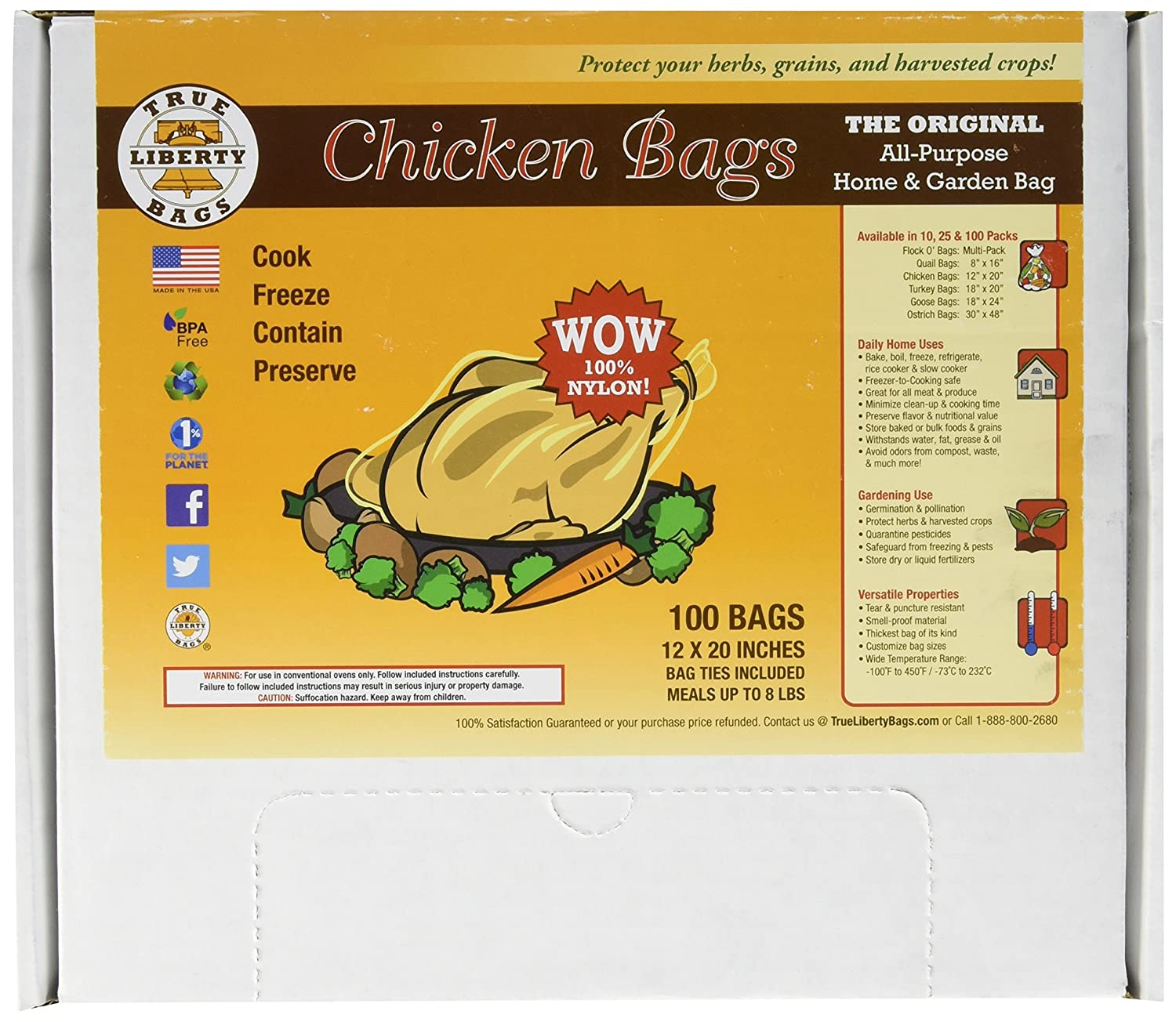 True Liberty Bags Chicken 100 Pack, All Purpose Home and Garden Bags, Clear