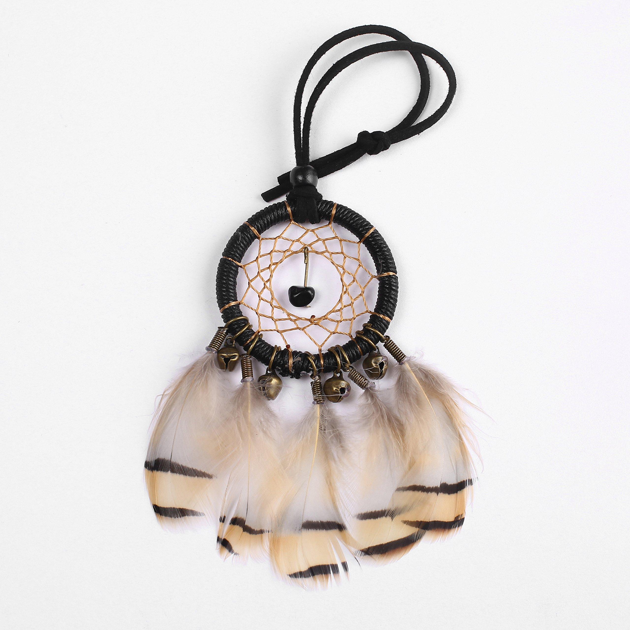 Gsha Mini Dream Catcher With Bells & Feathers, Handmade DreamCatcher for Baby Shower Boho Party Decorations 265cm