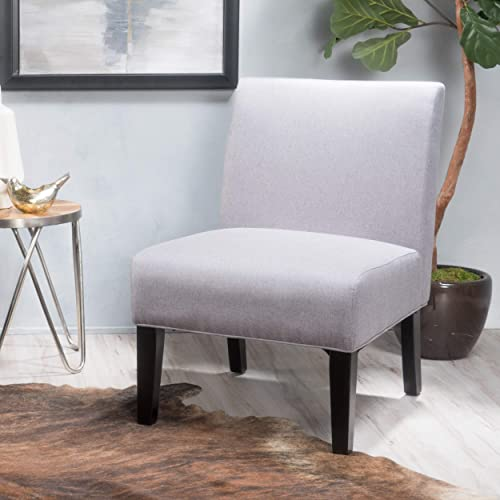 GDF Studio Kendal Fabric Slipper Accent Chair, Light Grey