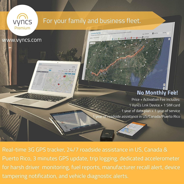 No Monthly Fees GPS Tracker OBD 3G Vehicle GPS Tracking VYNCS Premium Teen Driver Safety VPOBDGPS1