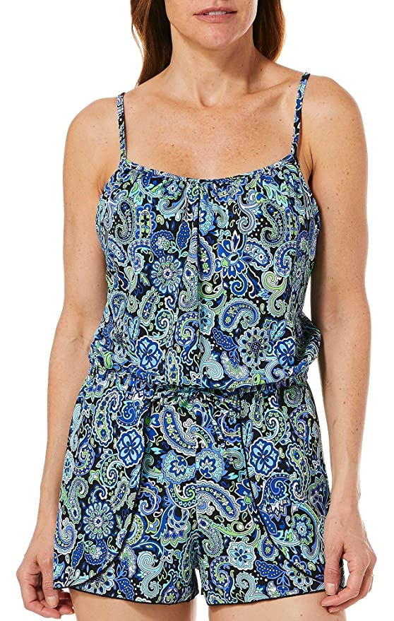 5057adb3009 A Shore Fit Womens Cami Paisley Flyaway Romper Swimsuit at Amazon Women s  Clothing store