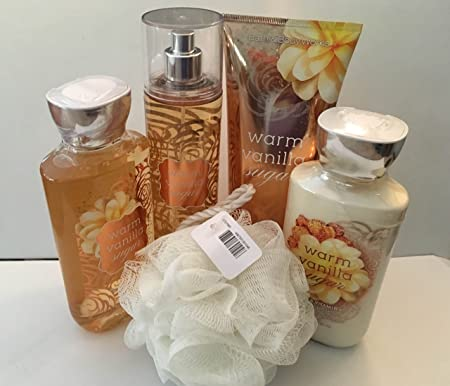 Bath Body Woks Warm Vanilla Sugar 5 Piece Gift Set Full Size Cream, Lotion, Shower Gel, Fragrance Mist Shower Sponge