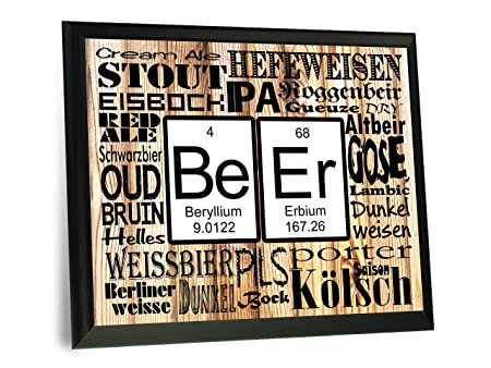 Beer Periodic Table Of Elements Wood Sign Science Geek Art 9 X 12