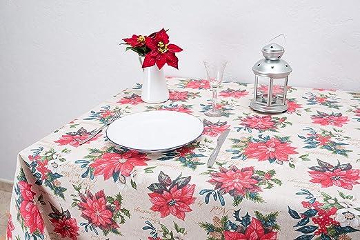 Boheme Poinsettia Mantel Navidad, ALGODÓN /50% POLIÉSTER, Verde, 140 X 250: Amazon.es: Hogar