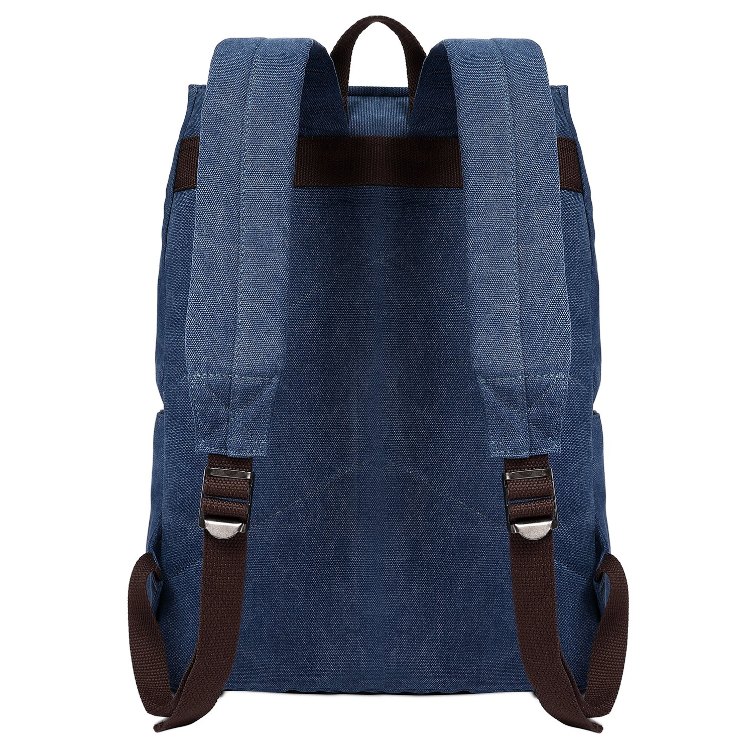 Fresion Vintage Casual Canvas Leather Shoulder Backpack Hiking Bags Travel Rucksack Handbag with 18L Large Capacity for Men and Women, Blue