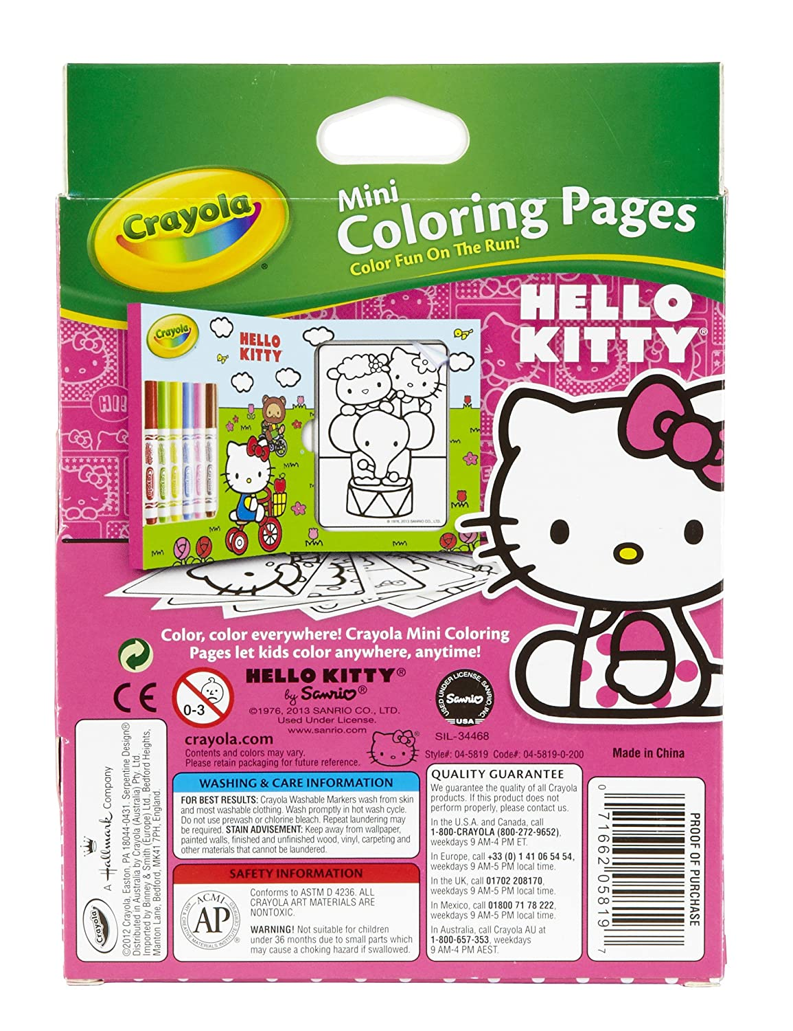 Amazon com crayola hello kitty mini coloring pages markers 86 piece set art gift for kids 3 up washable non toxic markers mini coloring book pages