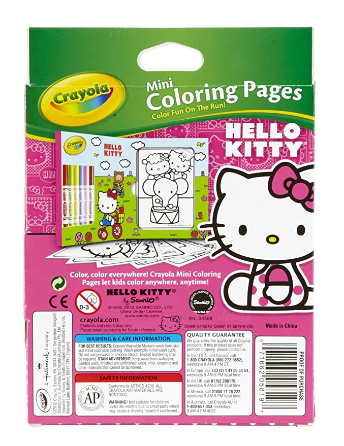 Amazon Crayola Hello Kitty Mini Coloring Pages No Toys Games