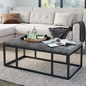 Nathan James Nelson Coffee Table Ottoman, Living Room Entryway Bench with Faux Leather Tuft and Matte Iron Frame, Gray/Black