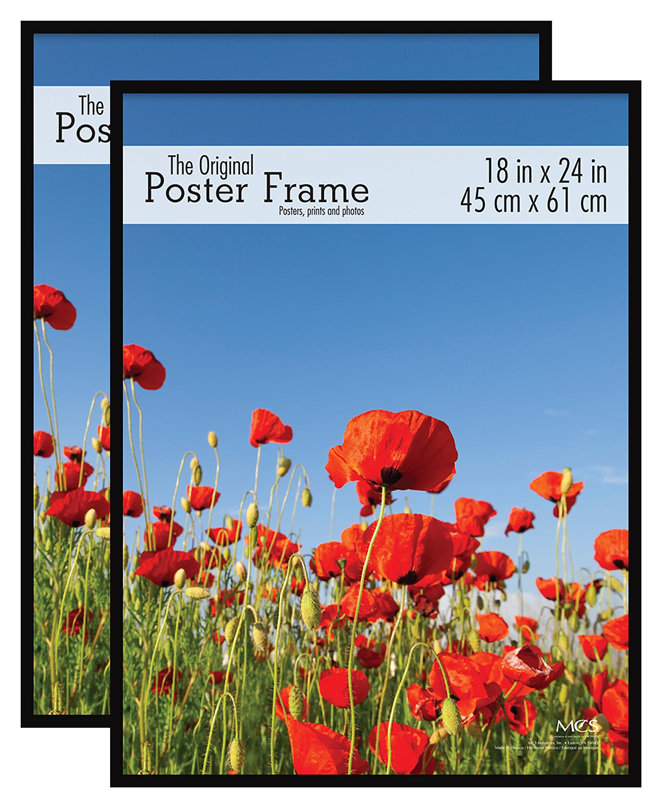 MCS Original Poster Frame, 18 by 24-Inch, Black, 2-Pack